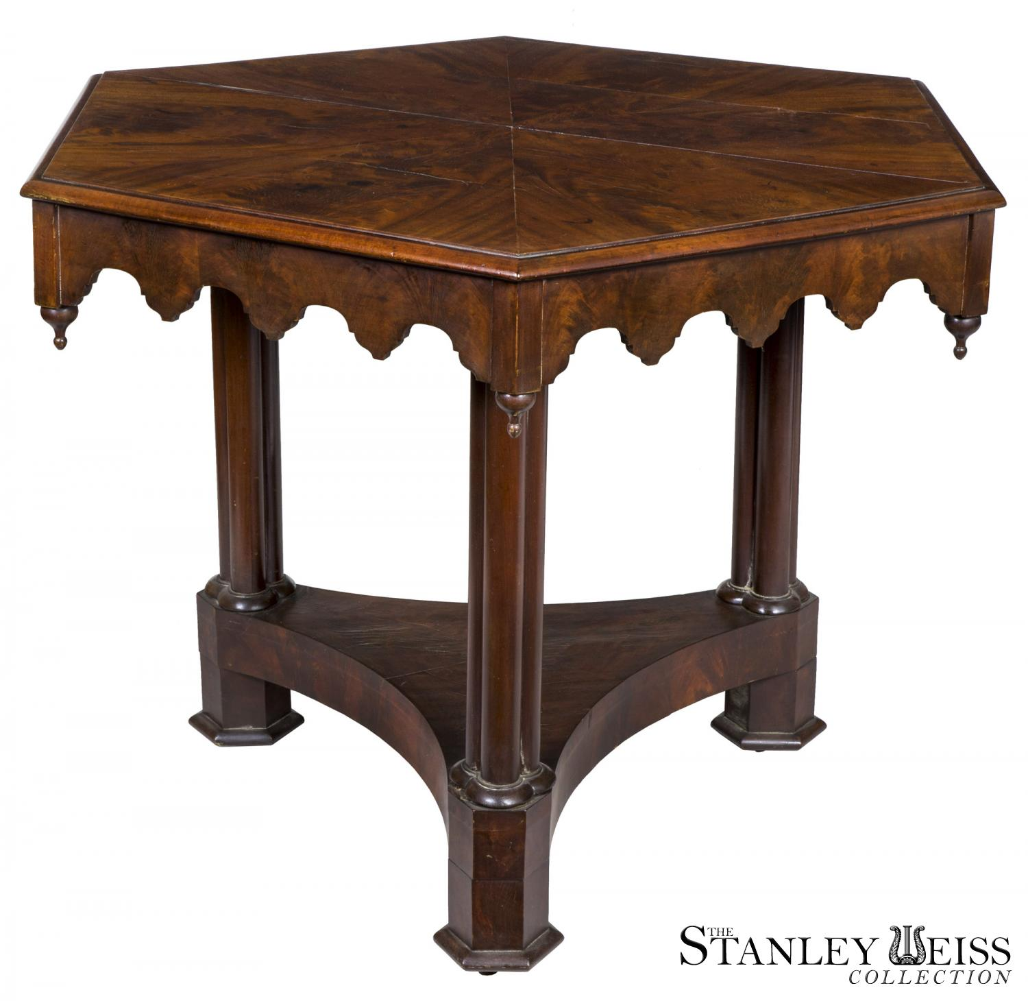 Gothic Mahogany Center Table with Cluster Columns Boston c 1840