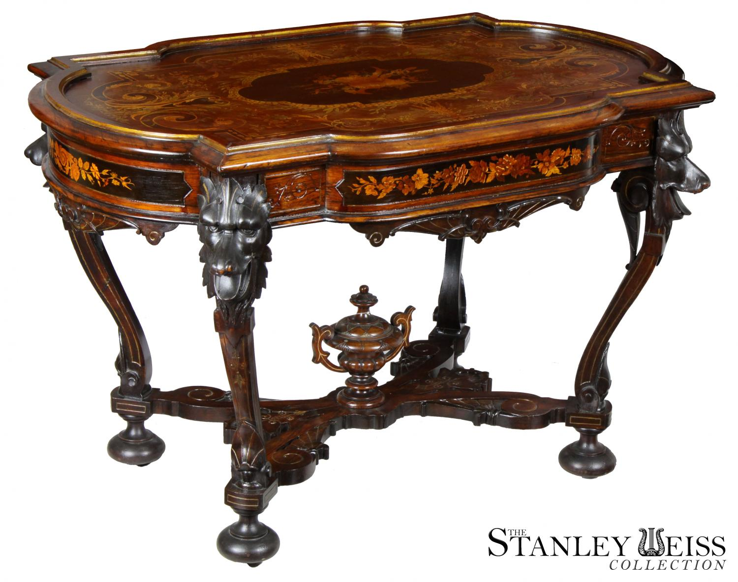 A Rare Walnut Inlaid Renaissance Revival Center Table With