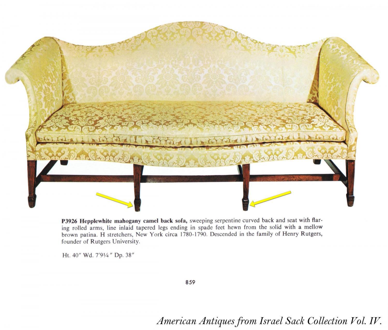 A Commodious Mahogany Hepplewhite Camelback Sofa with ...