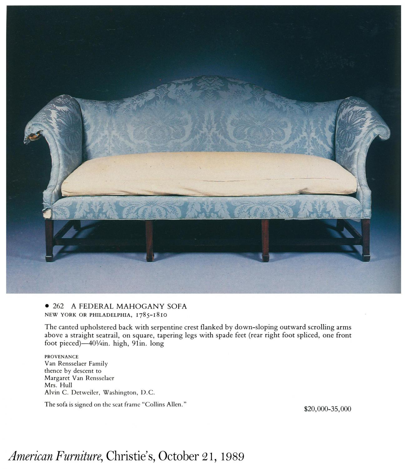 A Commodious Mahogany Hepplewhite Camelback Sofa With Serpentine Back And Seat With Spade Feet New York C 1800 Provenance From Samuel Kirkland D 1808 Of Clinton New York Stanleyweiss Com