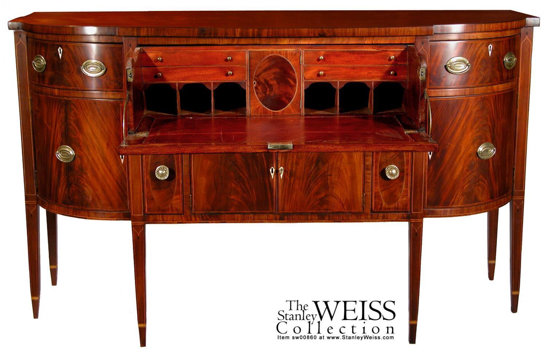 A Fine Inlaid Mahogany Federal Hepplewhite Sideboard with Desk ...
