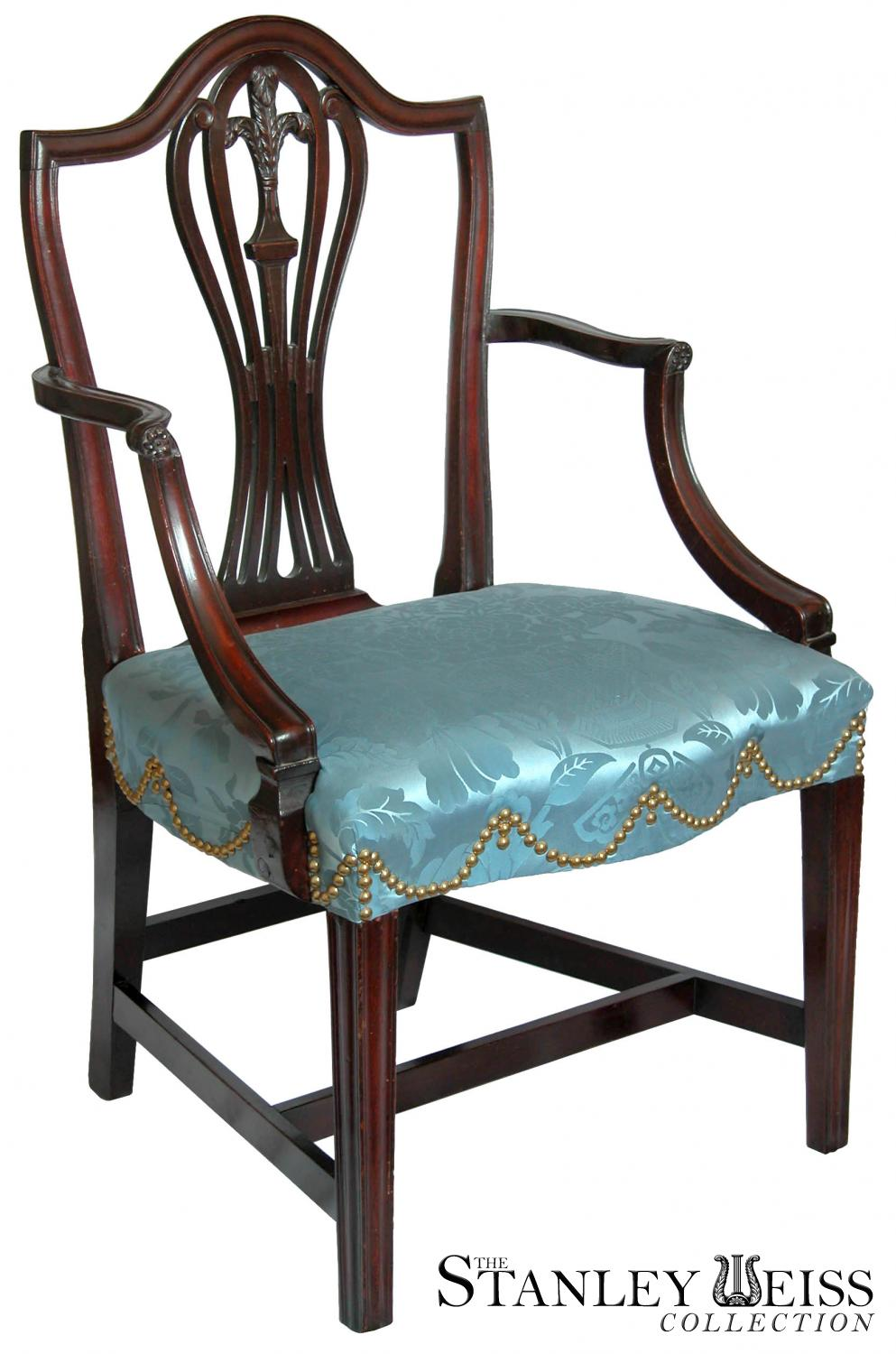 Superb Two Mahogany Federal Hepplewhite Shield Back Armchairs, New York, C. 1790,  Attributed To George Shipley