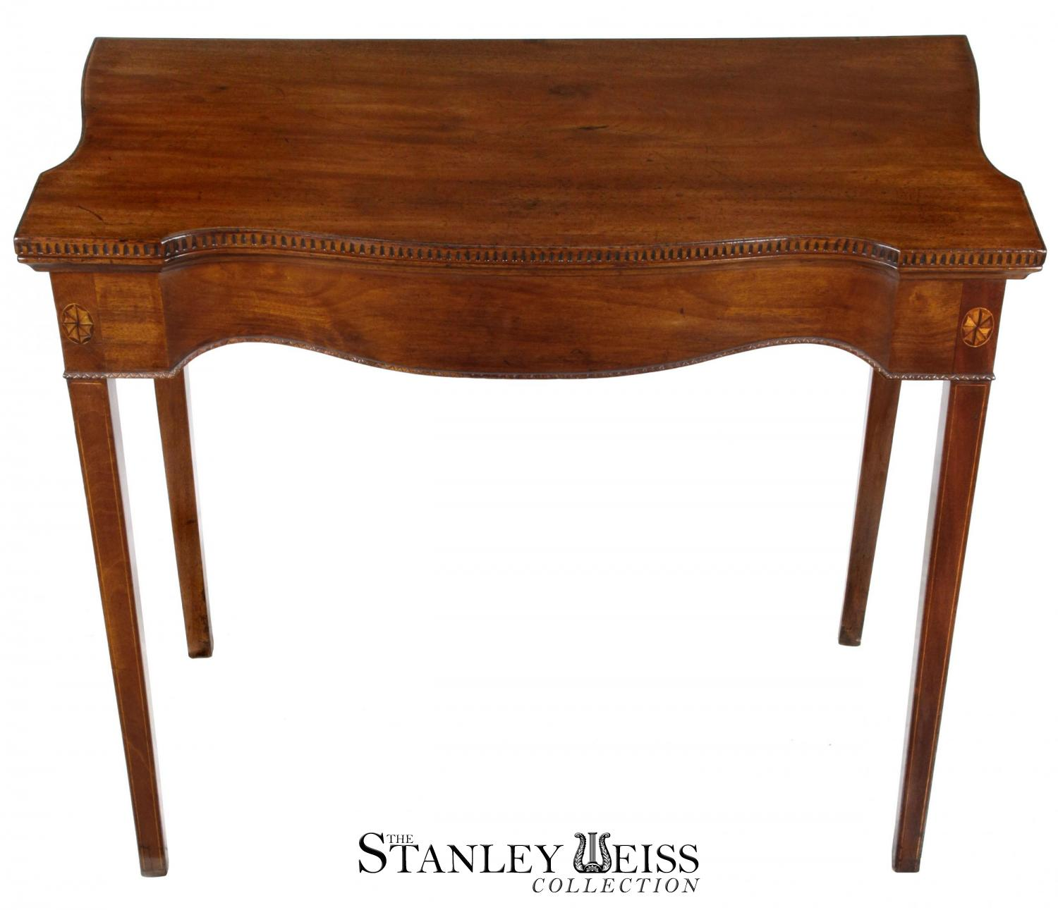 Mahogany Serpentine Card Table With Hidden Drawer Newport C