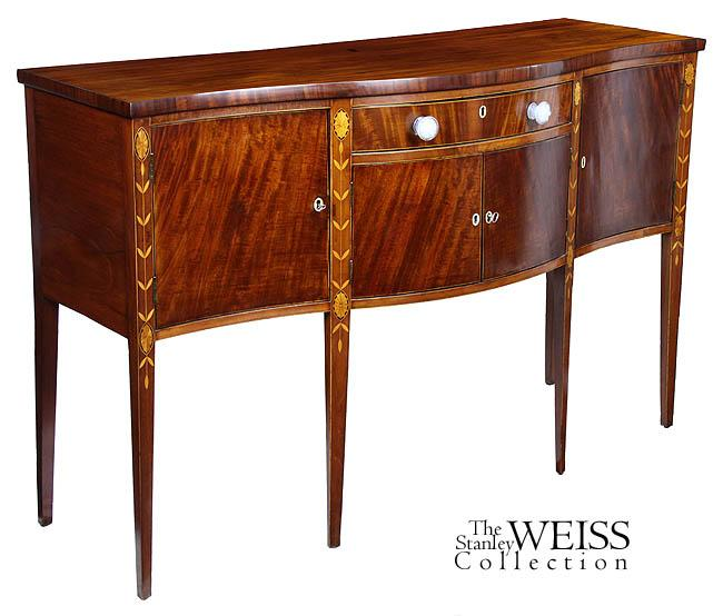 A fine mahogany serpentine hepplewhite sideboard of small for Sideboard sandeiche