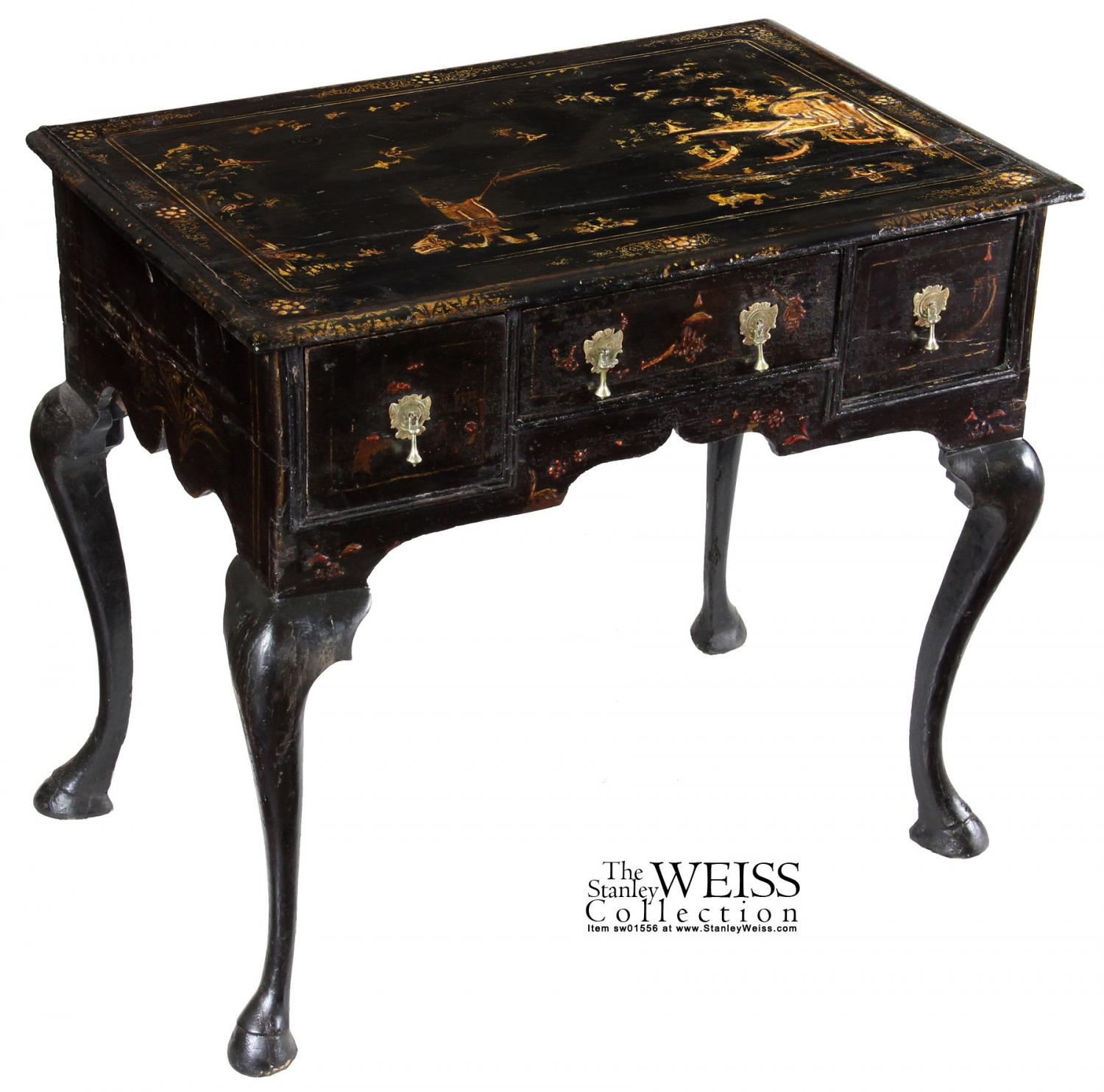 A Black Lacquer Queen Anne Japanned/Chinoiserie Dressing Table, England,  C.1750