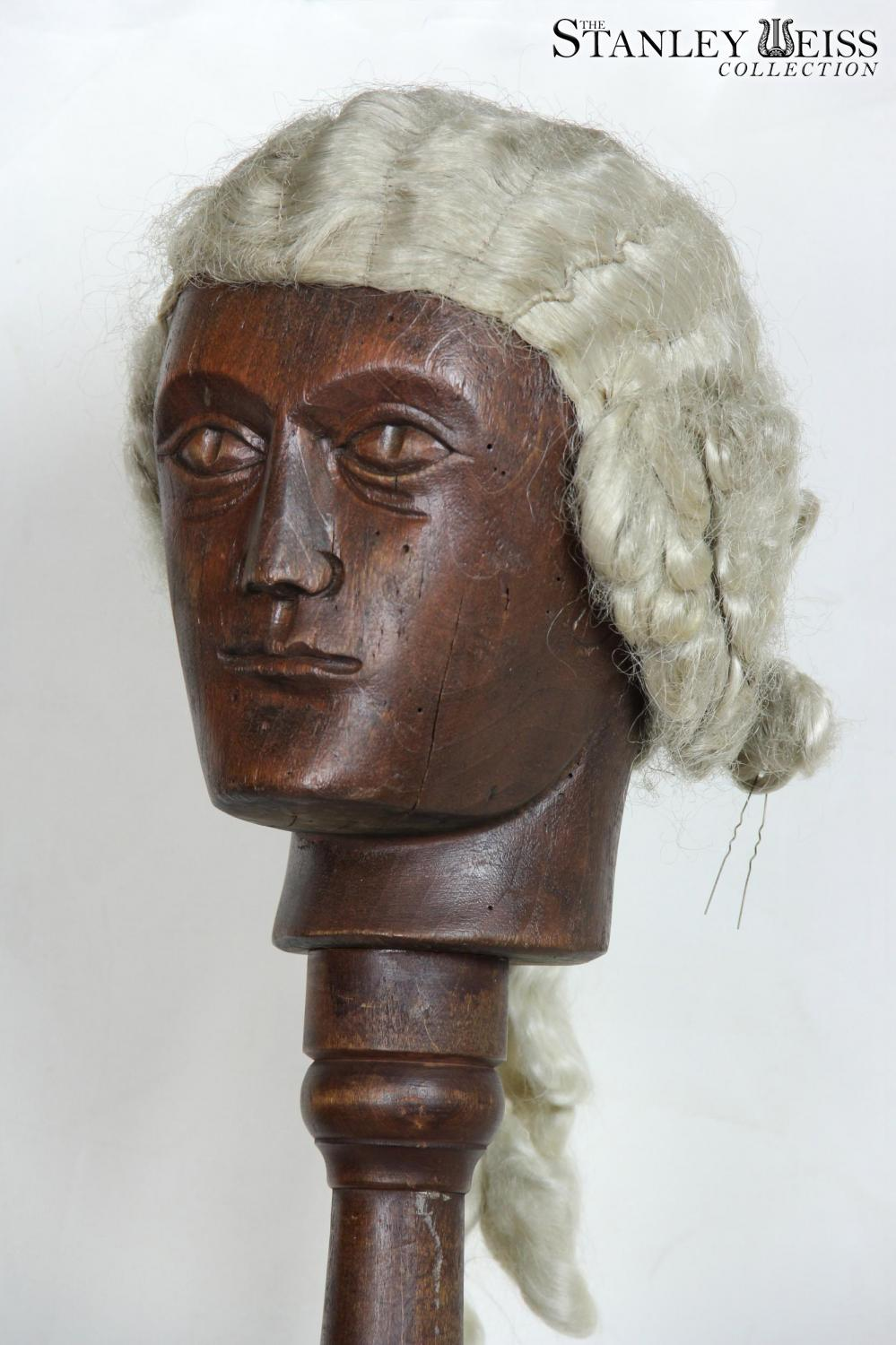 A Rare Colonial Wig Stand With Carved Head 18th Century
