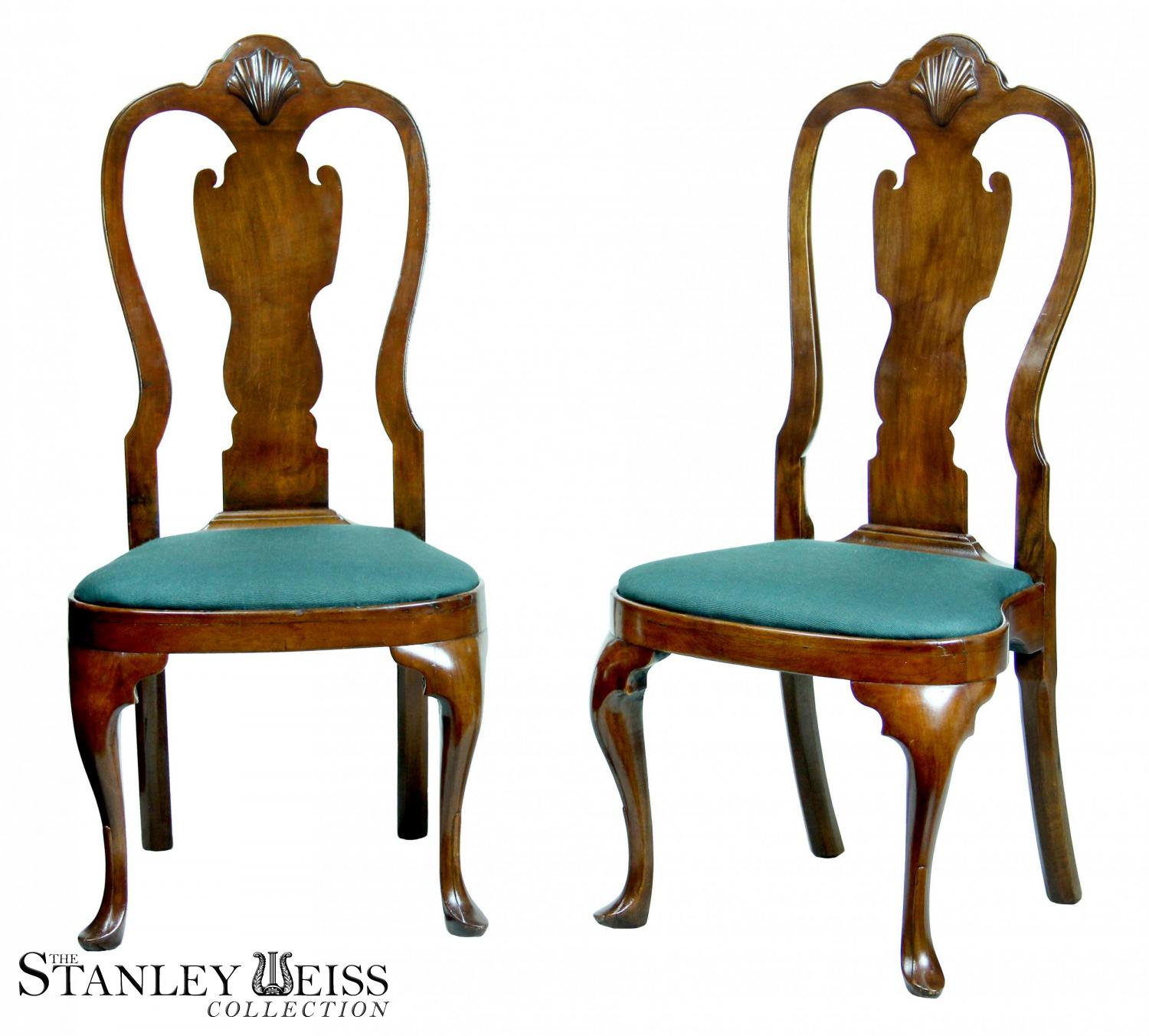 A Beautiful Pair of Walnut Queen Anne Side Chairs with Shell