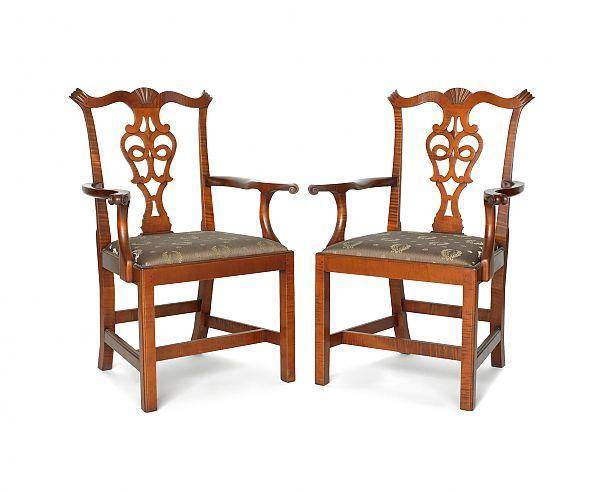 Pair Of Eldred Wheeler Chippendale Style Curly Maple Armchairs.