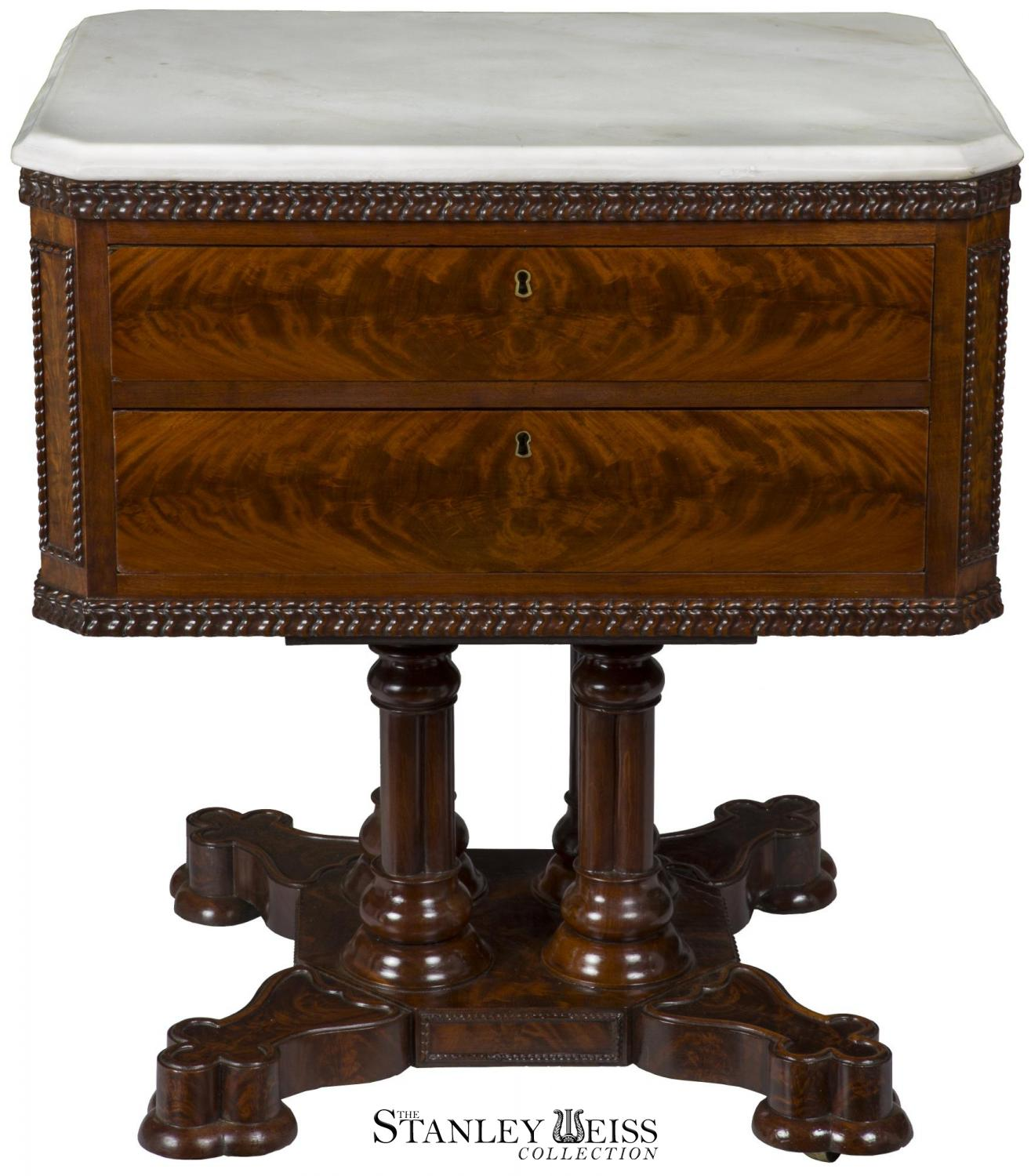 New York Marble Coffee Table: A Rare Classical/Gothic Figured Mahogany Marble Top Mixing