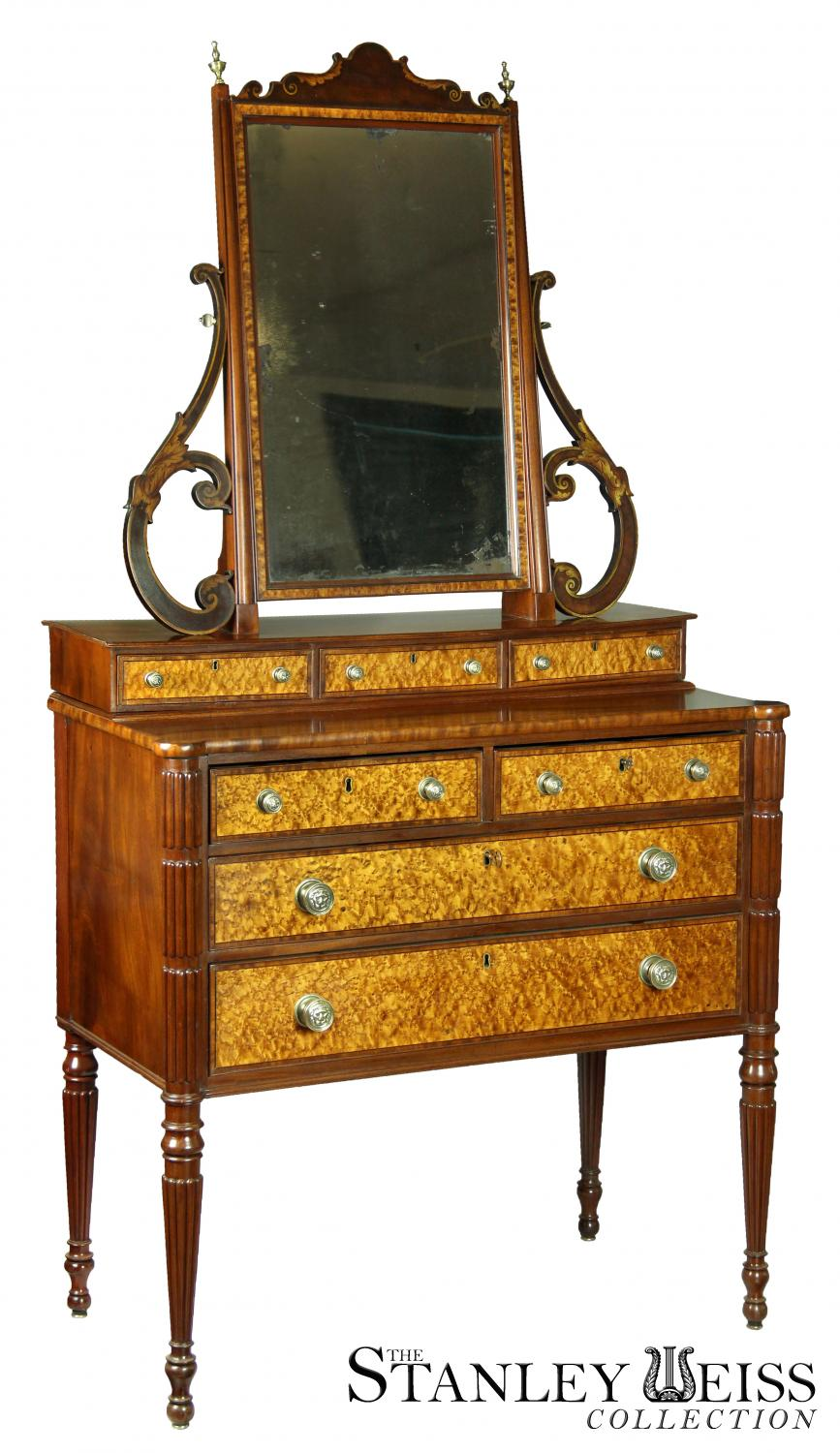 A Rare Federal Sheraton Birds Eye Dressing Table Thomas