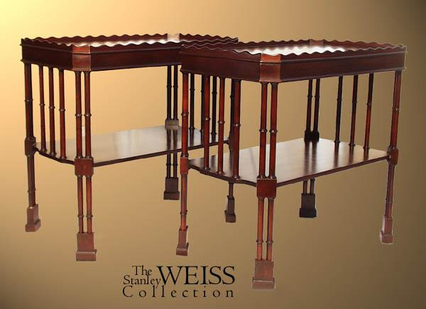 Pair Of Mahogany Chinese Chippendale Style End Tables