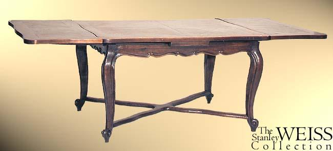 Oak French Provincial Dining Room Table With Scrolled Legs, 19th Century