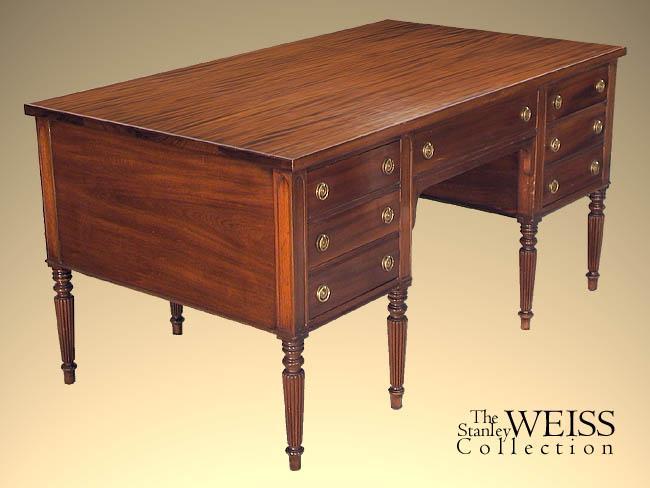Mahogany Sheraton Style Partneru0027s Desk, Paine Furniture
