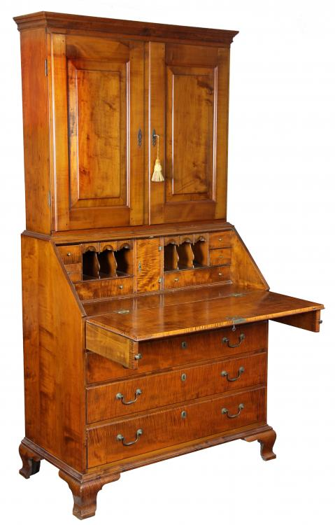 Swc Chippendale Tiger Maple Bookcase Desk Newport C1780 Ebay