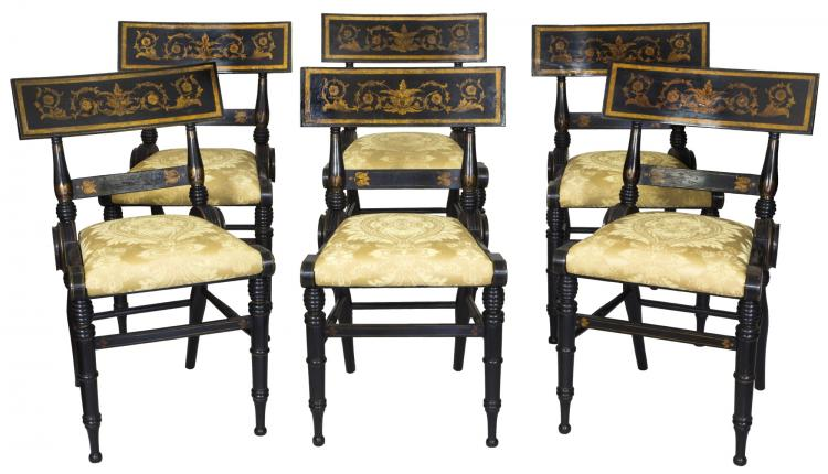 Swc magnificent set of 6 ebonized and gilt baltimore for Furniture 1825